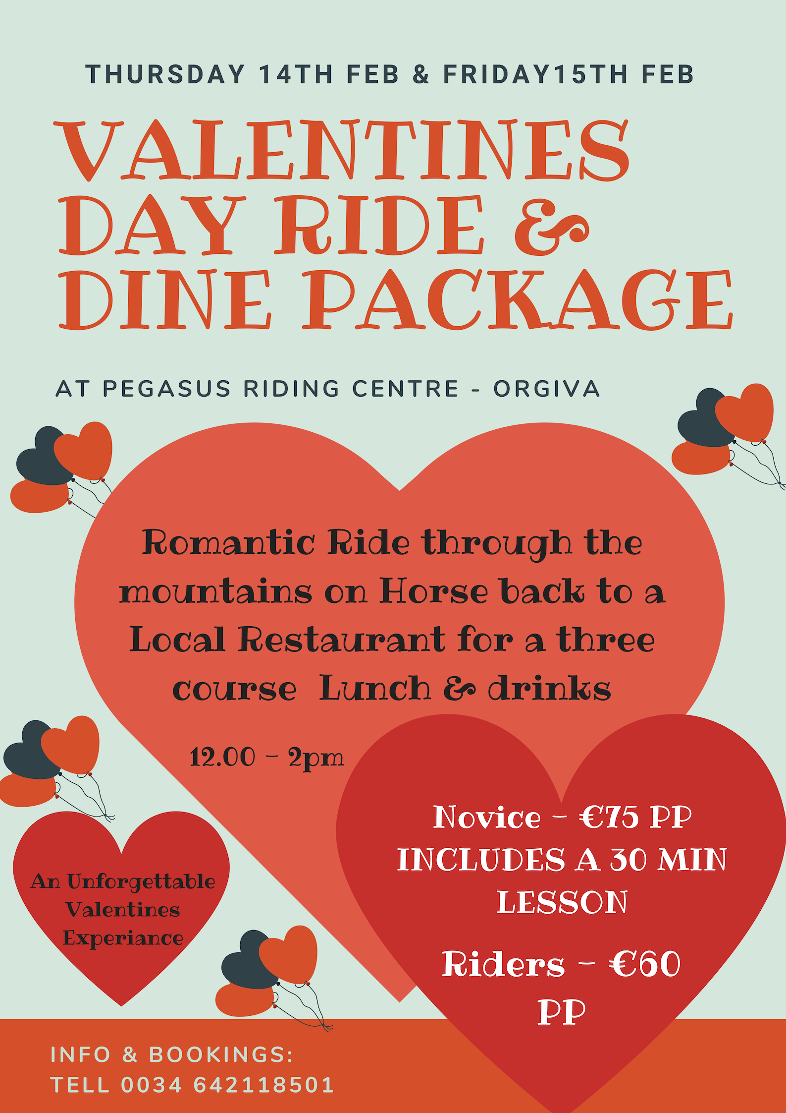 Valentines Day Ride & Dine Package